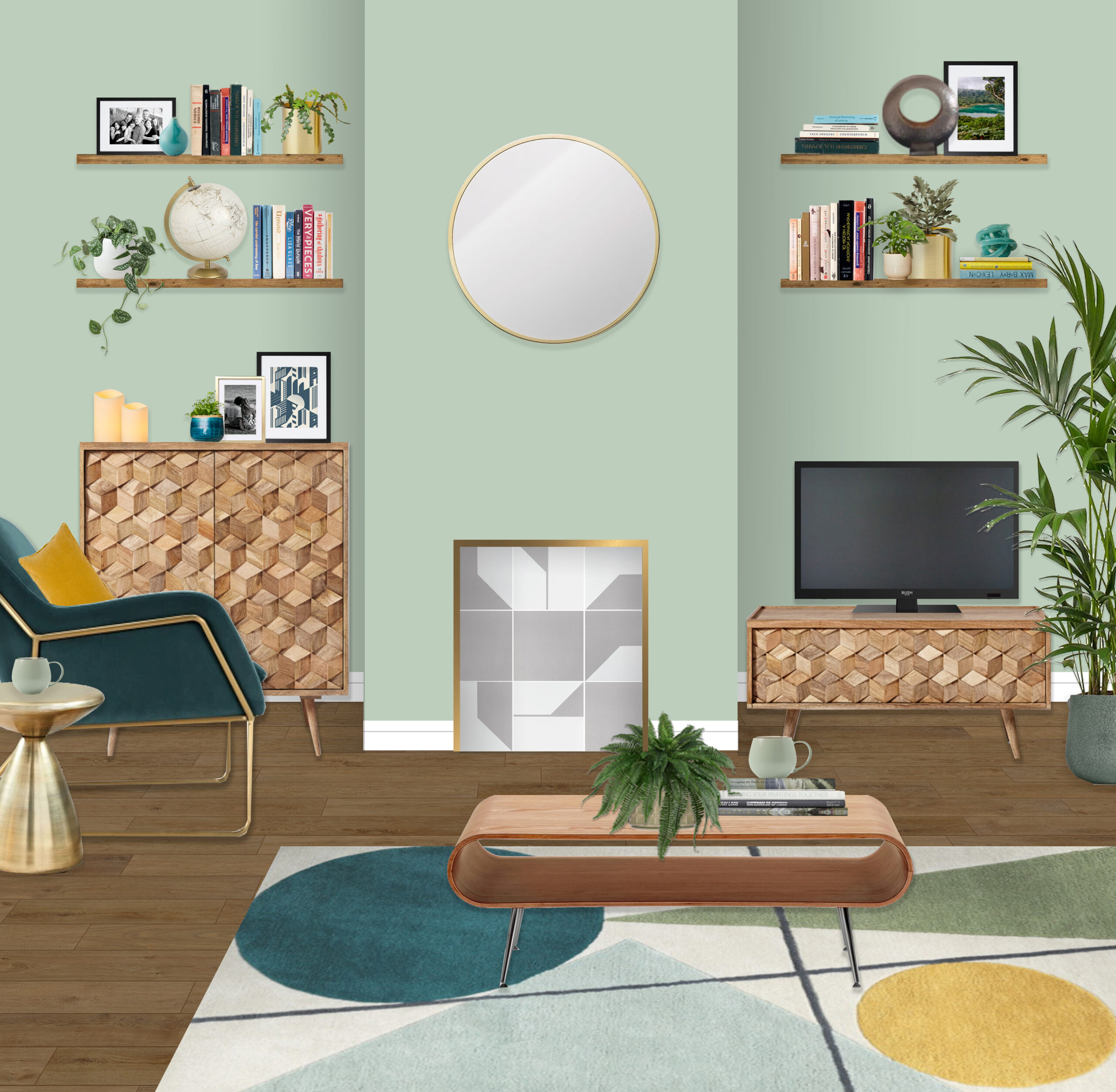 Mint Green Mid Century Living Room