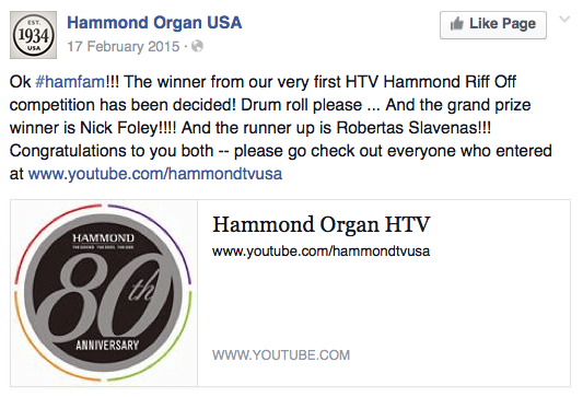 Nick Foley Hammond Organ Riff-Off Winner
