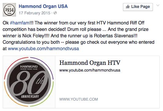 Nick Foley Hammond Organ Riff-Off Winner