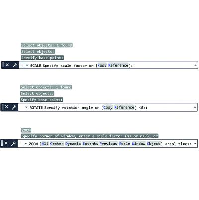 Options des commandes dans AutoCAD
