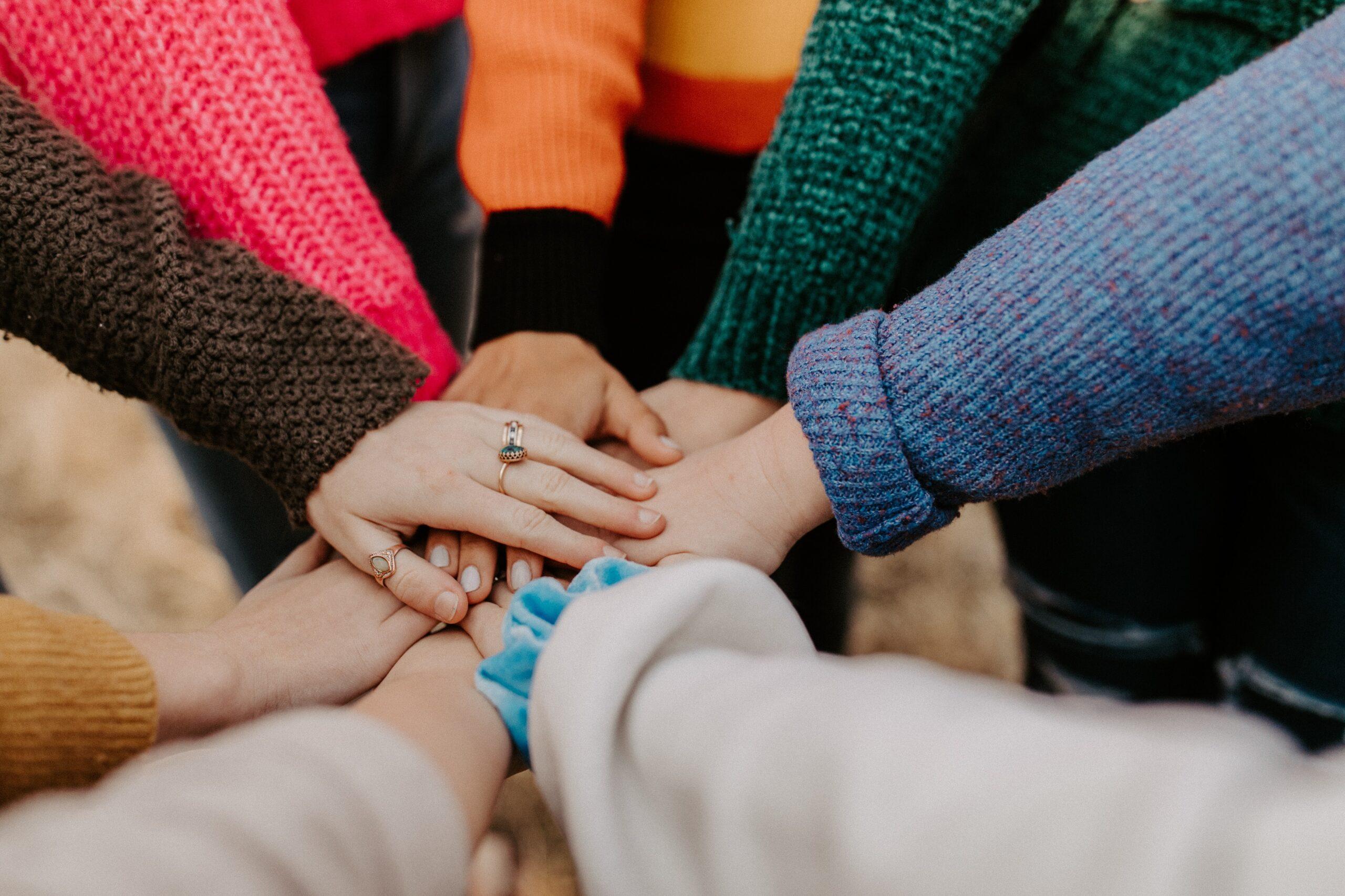 A group displaying teamwork