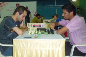 Dhulipala Bala Chandra Prasad going to make his move against Grandmaster Samvel Ter-Sahakyan. Prasad achieved 9 game International Master Norm