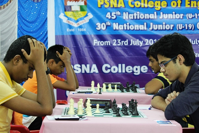 Though GMs Karthikeyan and Aravindh (both left) seem to be in a pensive mood, they won their respective games today
