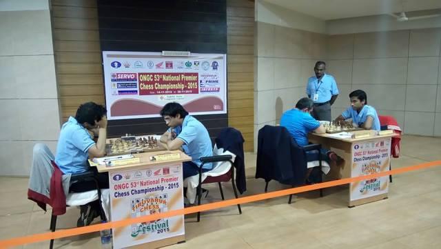 Top boards in action - Vidit vs Neelotpal and Karthikeyan Murali vs Kunte