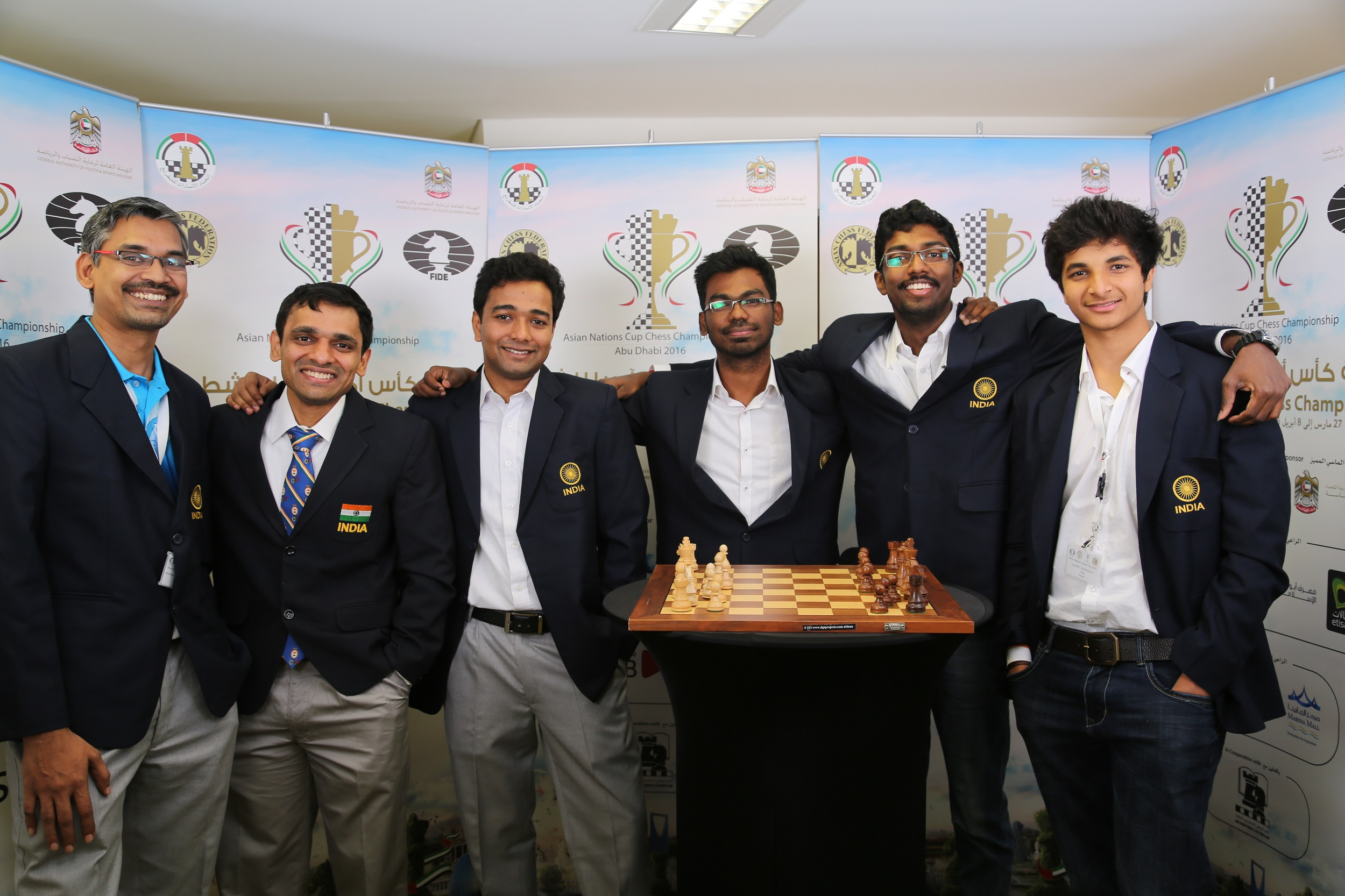 Indian team with coach GM R.B.Ramesh