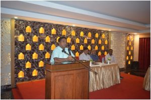 Shri.G.Bhaskar Vice President All India Chess Federation and President of ANCA speaking on the occasion.Sh. Lanka Ravi, Sh.Prasad Vice President ANCA and Shri. Dinesh Secretary ANCA look on.