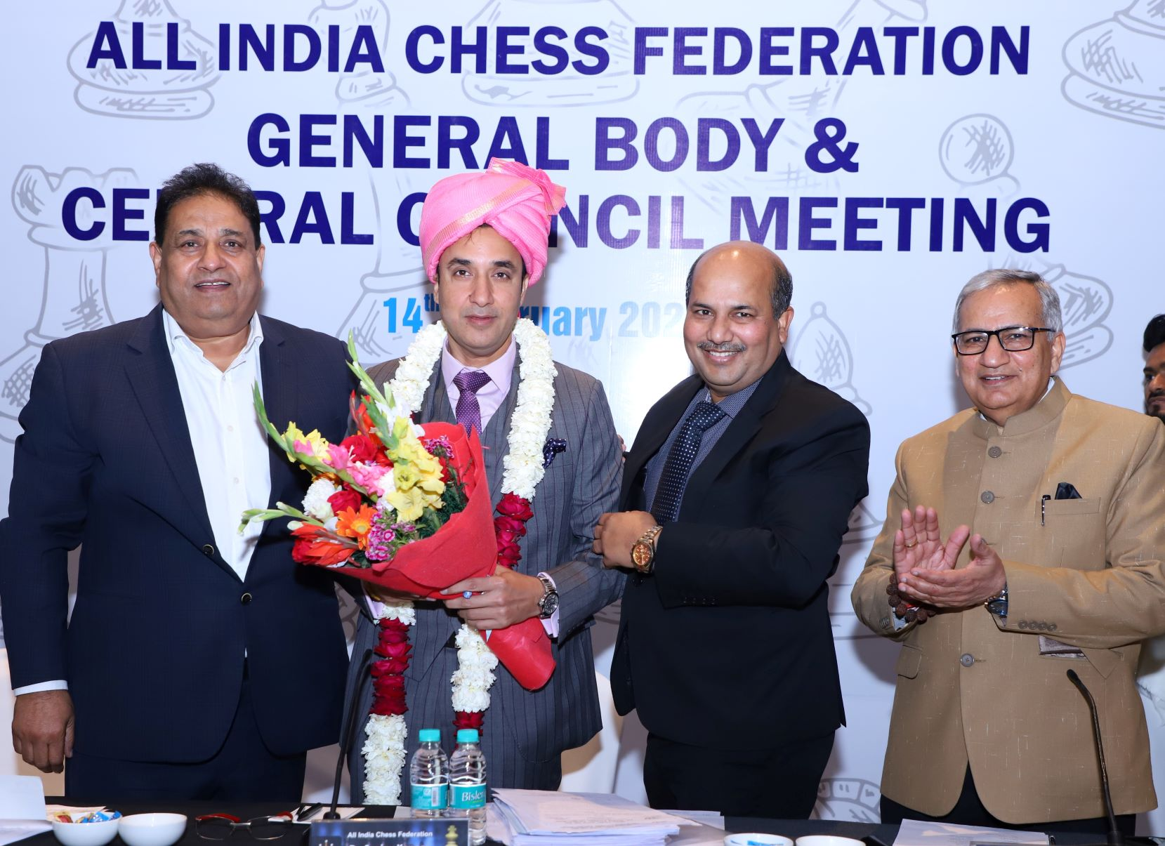 Dr Sanjay Kapoor, newly elected President of All-India Chess Federation being felicitated at their AGM in New Delhi on Sunday