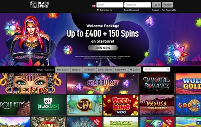 The Black Spins casino home page