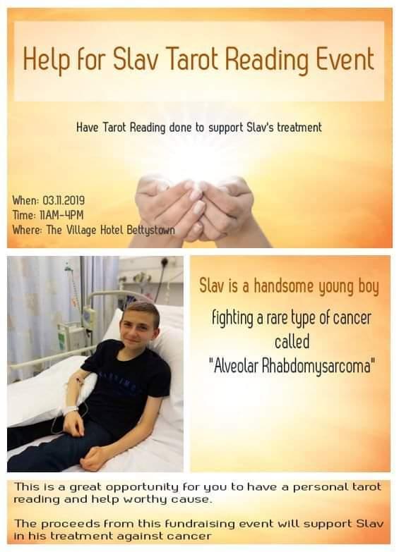 Reiki and Tarot reading fundraiser event for Slav