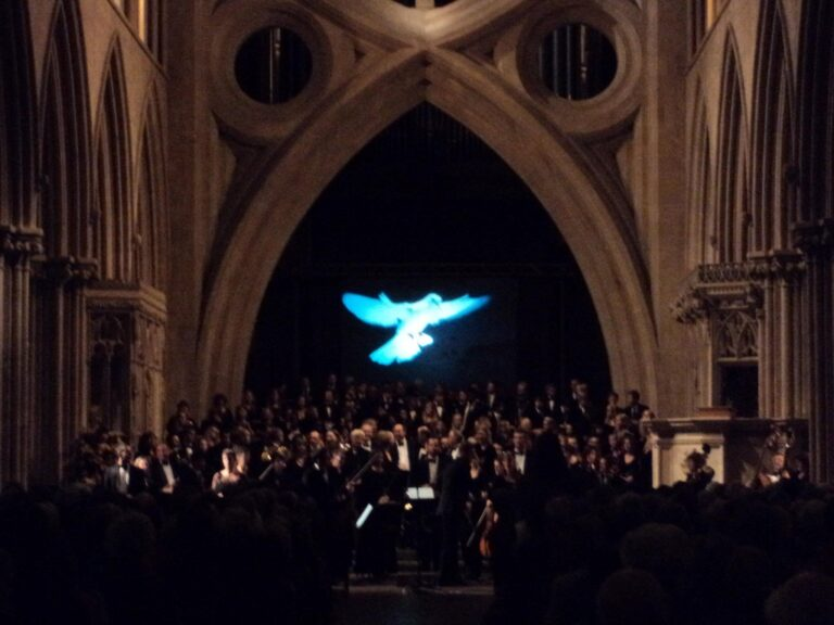 Rear Projection Screen for a Performance in Wells Catherdral