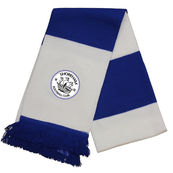 Blue and white strip[ed scarf with the Shoreham FC logo