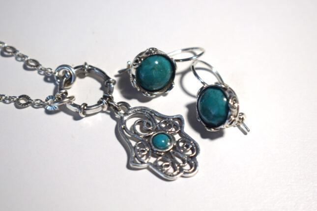 Hamsa Necklace, Turquoise Earrings, Earrings