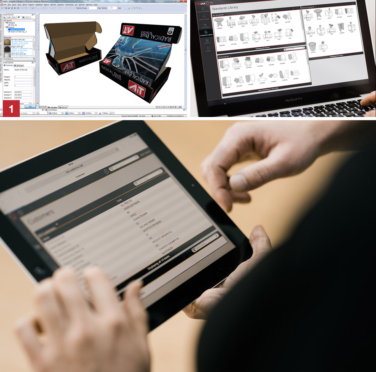 Arden Impact and Enterprise software being used on an iPad and laptop