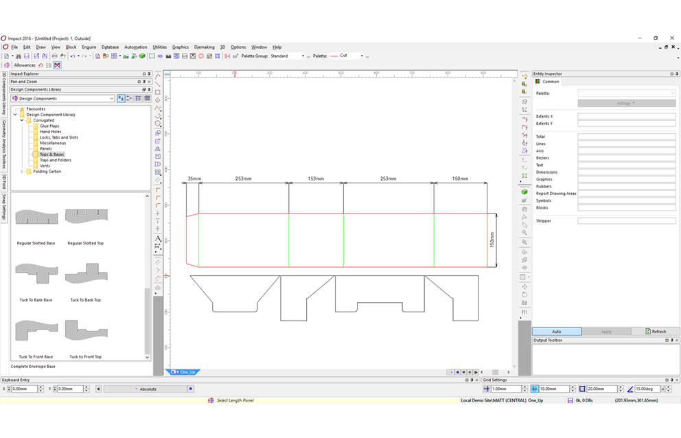 Package being designed on Impact CAD