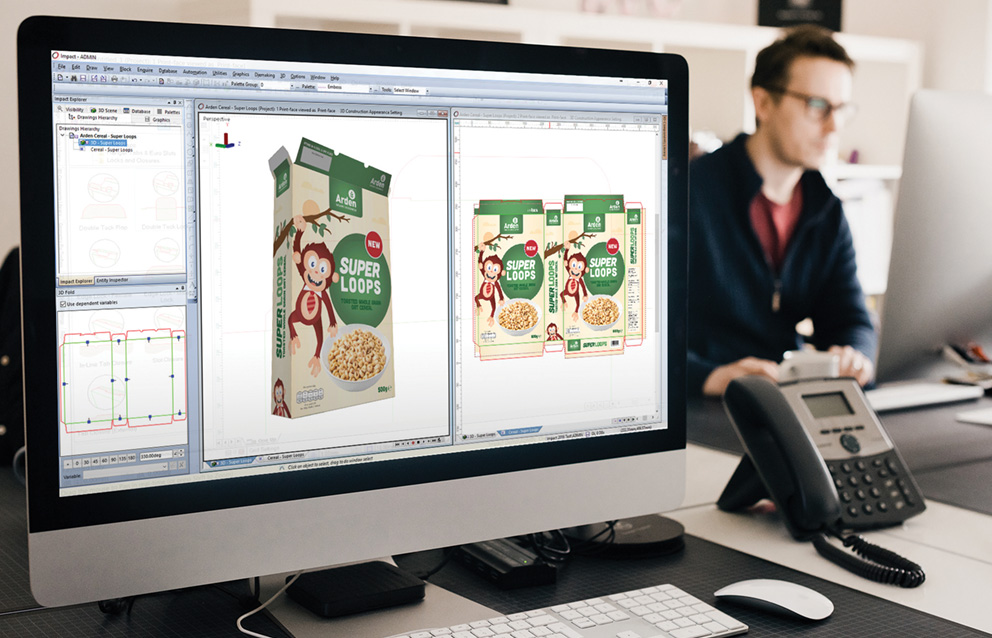 Virtual package design on Arden Software Impact CAD