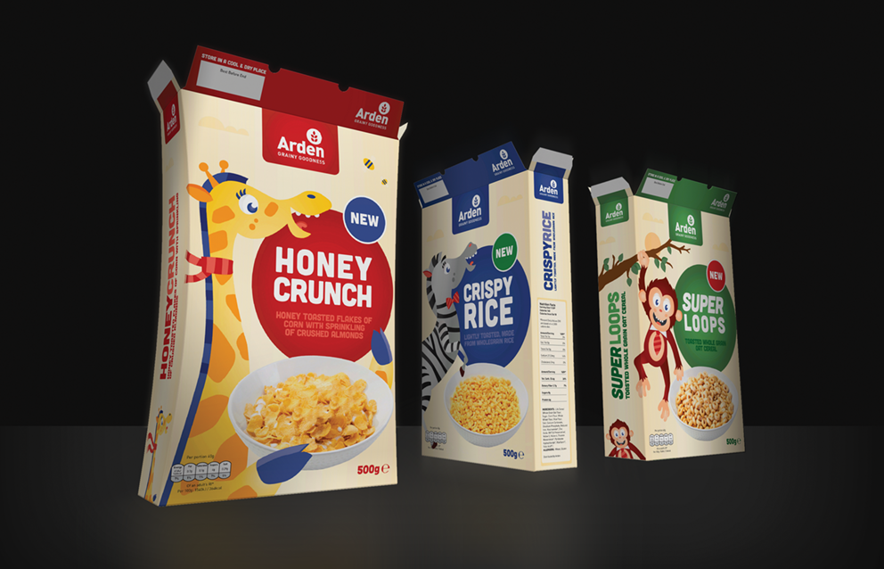 Picture of cereal boxes created on Arden Software Impact CAD