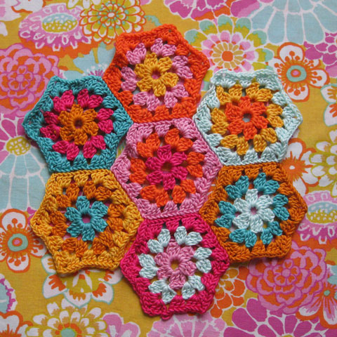 Granny hexagons and fabric