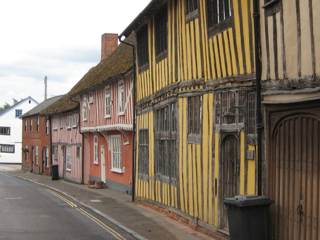 Colourful half-timbered houses, Lavenham, Suffolk