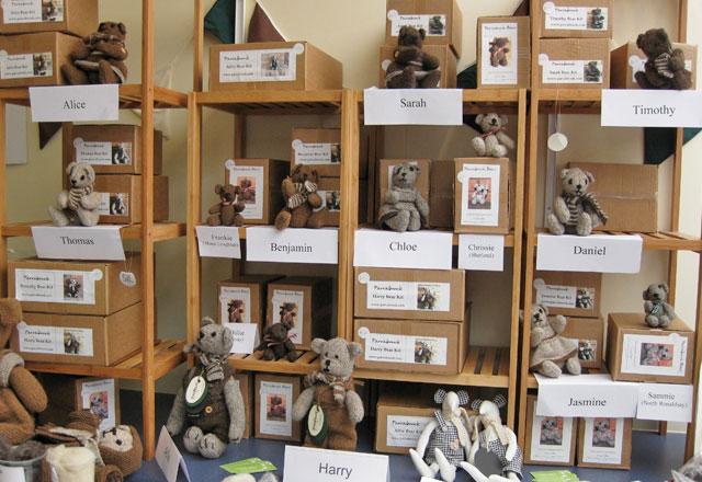 Display of hand-knit bears