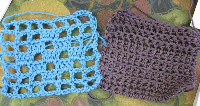 Two filet crochet samples