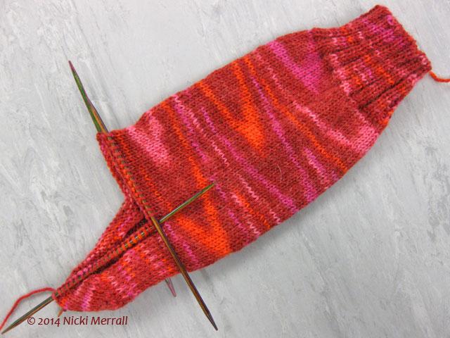 Jupiter Galaxy sock heel flap and heel turn