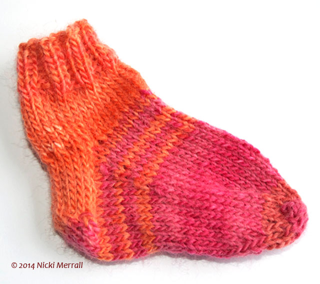 Top-down sock with heel flap and star toe