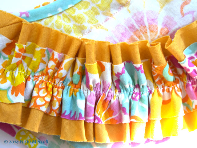 My latest sewing project – a flowery sleeveless top with ruffles