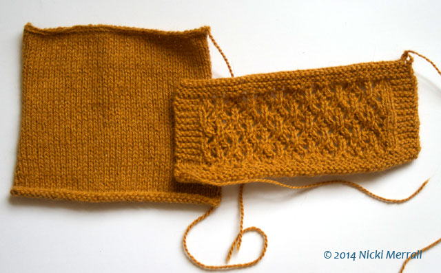 Two hand knitted swatches, one in stocking stitch and one in lace pattern