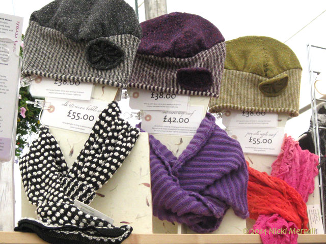 Display of hats and mittens designed by Susan Holton