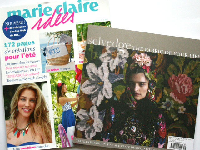 Front cover of Marie Claire Idees and Selvedge magazine