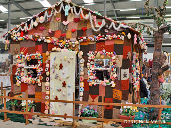 Exterior of knitted gingerbread house