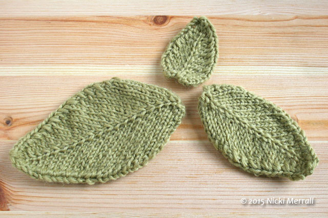 Small, medium and large leaves knitted in stocking stitch