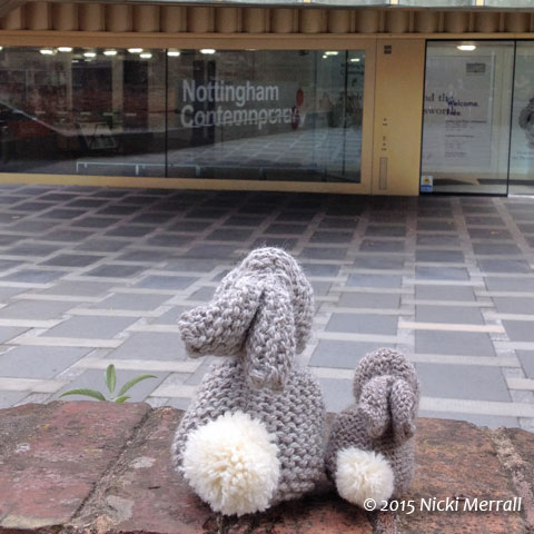 Little Bunny and Big Bunny looking at the entrance to Nottingham Contemporary