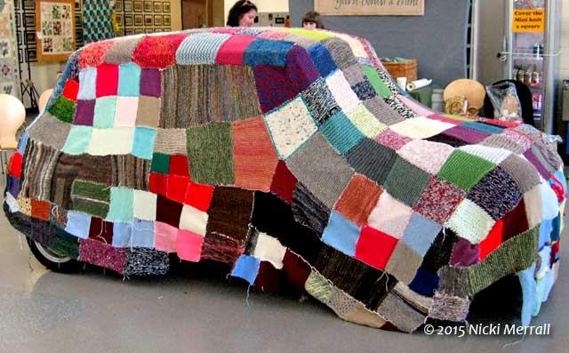 Mini Cooper yarn bomb at The Big Textile Show, 2015