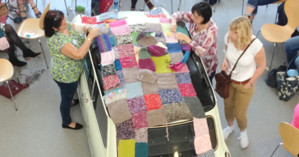 Mini car yarn bomb at The Big Textile Show