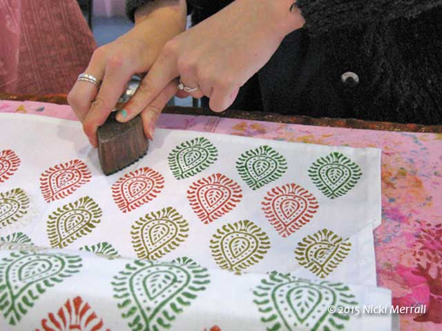 Demonstration of block printing by Block Craft, The Big Textile
