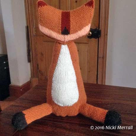 Knitted fox body, back legs and head