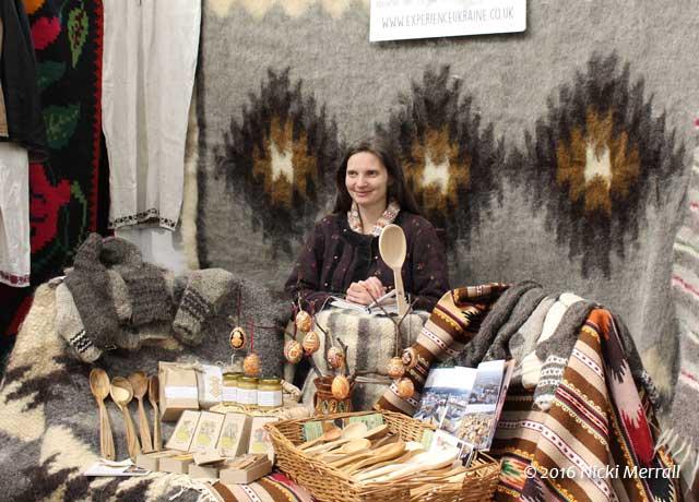 Natalya from Experience Ukranine with her Ukranian textiles
