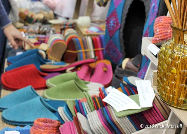 Felt in many colours precept to make slippers