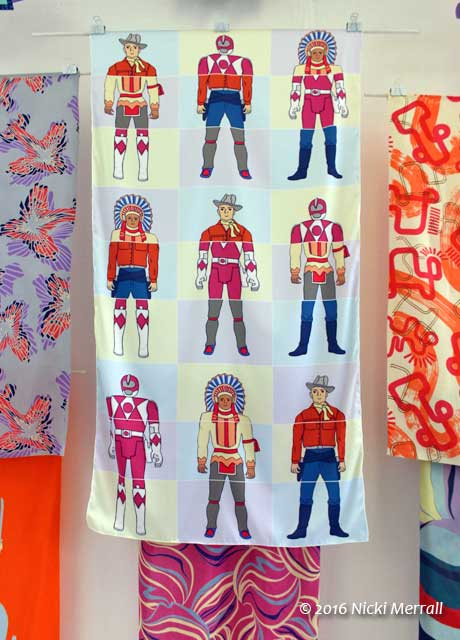 Printed fabric with a cowboy pattern