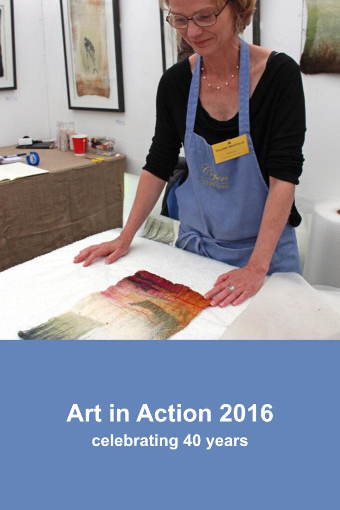 Valerie Wartelle demonstrating wet felting at Art in Action 2016
