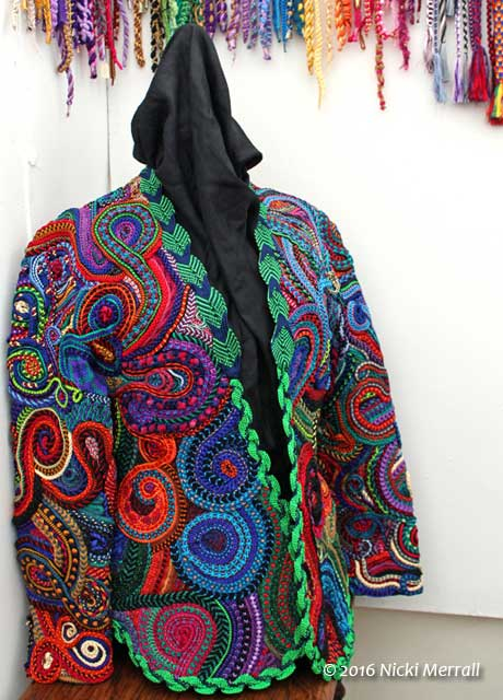 Colourful jacket made from kumihimo braids