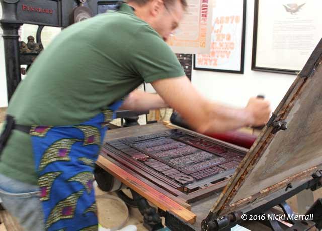 New North Press demonstrating letterpress printing