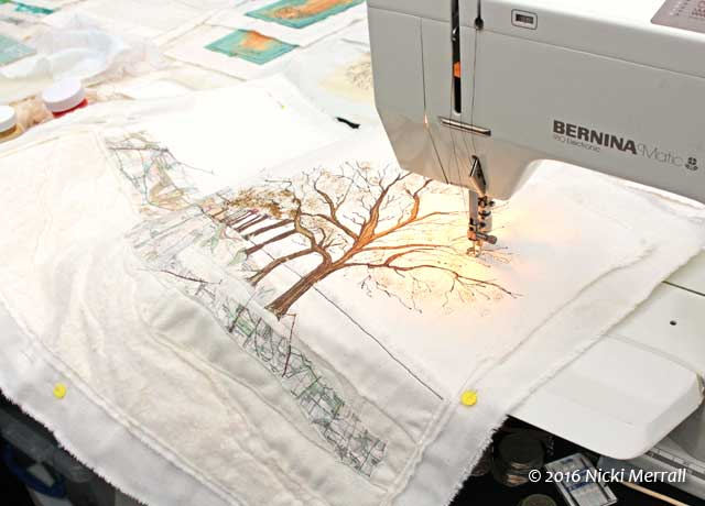 Sample of machine embroidery in progress