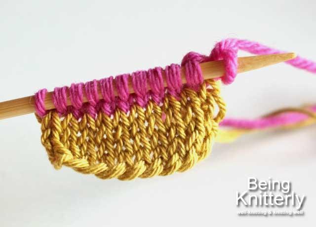Step 2: Work two rows of stocking stitch using working yarn