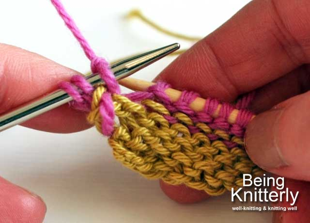 Step 7: Knit purl bump on right-hand needle