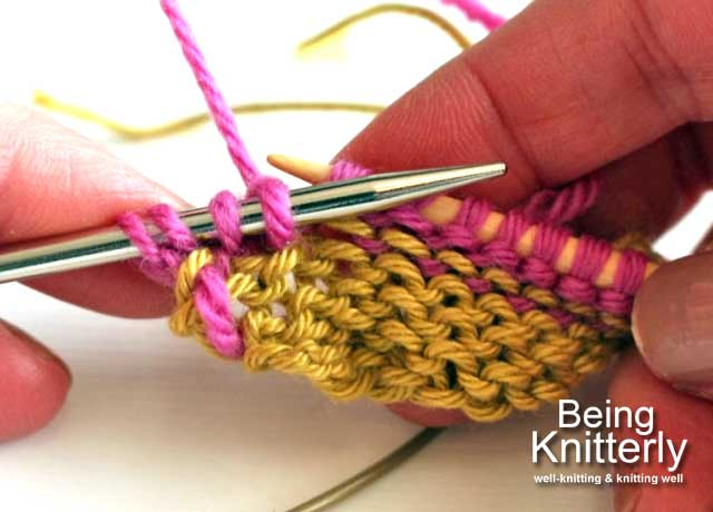 Step 9: Knit purl bump on right-hand needle