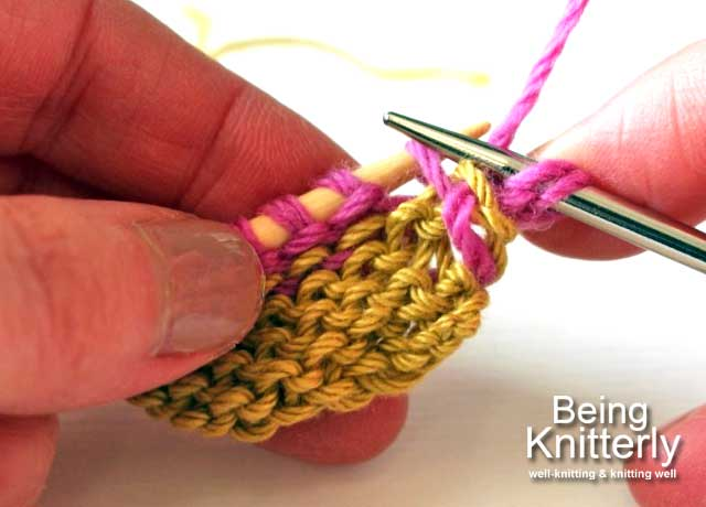 Step 6: Place purl bump on right-hand needle without twisting it