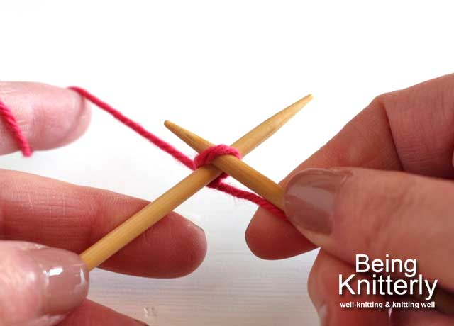 Step 1: Insert left-hand needle through slip knot