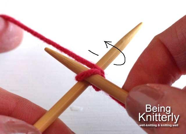 Step 2: Move yarn clockwise round left-hand needle